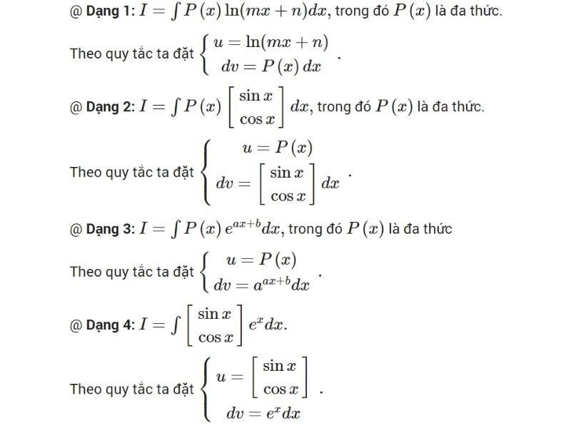 Dạng bài tập tích phân từng phần
